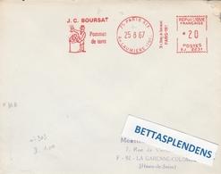 LSC 1967 - EMA - J.C. BOURSAT Pommes De Terre - Cachet PARIS XIX  Avenue LAUMIERE - Postmark Collection (Covers)