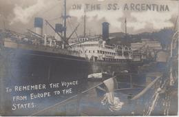 """CP Photo SS Argentina """"On The SS. Argentina To Remember The Voyage From Europe To The States"""" (très Beau Plan) - Commerce"""