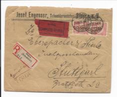DR 317, 309, 304 MiF  - 43,8 Mio Mk Infla - Geschäftsbrief Eilboten Einschreiben -  Von Singen Nach Stuttgart - Storia Postale