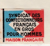 """Petite Facture 1936 / Vignette Tricolore """"Achetez Français"""" / Syndicat Confection / Weil / 25 Besançon - France"""