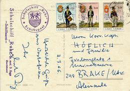 CABO VERDE - 1966 , Schulschiff Ruhr / Schiffspost  -  AK Nach Brake / Unterweser - Cap Vert
