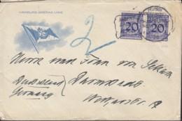"""DR 2x 341 P MeF, Geprüft Auf Brief Mit Schiffspost-Stempel: Dt.-Am.Seepost Hamburg-New York 28.2.1925 MS """"Albert Ballin"""" - Deutschland"""