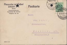 INFLA DR 290 EF, Geprüft, Auf PK Der Fa. Preussler & Waibel, Mit Stempel: Singen 22.9.1923 - Germania