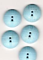 -- 5 BOUTONS EN VERRE (Opaline)  DE COULEUR BLEUE -- - Boutons