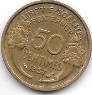 France 50 Centimes  1937   Km  894.1   Xf - France