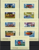 Cambodia, 1975, UPU Centenary, Universal Postal Union, Transport, United Nations, MNH Imperf, Michel Block 107-115B - Cambodge