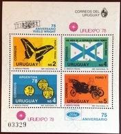 Uruguay 1978 Uruexpo Butterflies Minisheet MNH - Uruguay