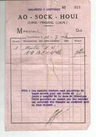 Facture De 1954 Horlogerie AO - SOCK - HOUI  Au Laos - Factures & Documents Commerciaux