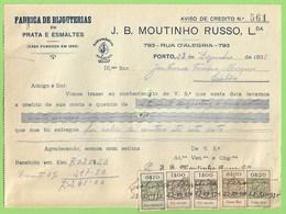 Porto - Factura De J. B. Moutinho Russo, Lda. - Joalharia - Ourivesaria - Pratas E Esmaltes - Portugal - Portugal