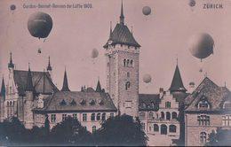 Zürich, Gordon-Bennet-Rennen Der Lüfte 1909, Ballons Helvetia Sur La Ville (2.10.1909) Pli D'angle - Meetings