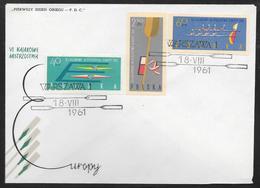 Poland - 1961 European Canoe Championships - Imperforate Set On FDC - Storia Postale