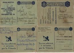 (CM).Franchigia Militare.Lotto Di 4 Cartoline P.M.5.Quartier Generale Comando 6^ Armata (39-a17) - Guerra 1939-45