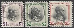 US 1938  Sc#832-4  $1/$2/$5 Used   2016 Scott Value $7 - Oblitérés