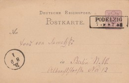 Ganzsache 1879 Von Podelzig Nach Berlin - Deutschland
