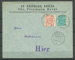 Estland Estonia 1918 Michel 1 & 2 On Cover Imperial Russian Cyrillic Cancel Revel TALLINN - Estonie