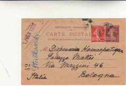 Evian Le Bains To Bologna. Cartolina Intero Postale 1922 - Storia Postale