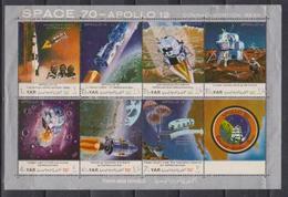Yemen AR, Apolloo 12, 1970,  Sheetlet - Ruimtevaart