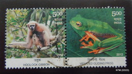 INDIA 2012. Hoolock Gibbon And Venated Gliding Frog, A Pair Of Stamps Of 5 Rupees Each. SG2893-94. Used. - India
