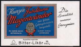 C3414 - TOP Visitenkarte - Kunze Mittweida - Likör Fabrik Schnaps - Visitenkarten
