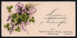 A3978 - TOP Litho Visitenkarte - Gustav Müller Glauchau Schuhwaren - Visitenkarten