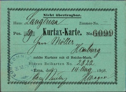 ! Bad Ems, 1898 Kurtaxe Karte - Bad Ems