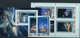 Nord North Korea, Space Fantasy, 1982, 2 Stamps +2 Blocks - Espace