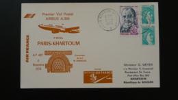 Lettre Premier Vol Postal First Flight Paris Khartoum Soudan Airbus A300 Air France 1979 - Primi Voli