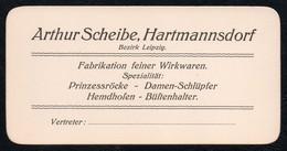 C1938 - TOP Visitenkarte - Arthur Scheibe Hartmannsdorf Fabrik Wirkwaren - Visitenkarten