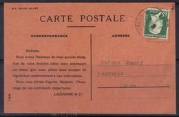 Pasteur N°171 De Roulette  (dents Massicotées) Sur Carte Du Printemps, 1925. - Marcophilie (Lettres)