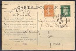 Pasteur N°170 De Roulette  (dents Massicotées) Sur Carte Du Bon Marché, 1924. - Marcophilie (Lettres)