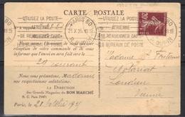 Semeuse N°139/IV De Roulette  (dents Massicotées) Sur Carte Du Bon Marché, 1925. - Marcophilie (Lettres)