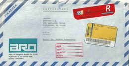 Vignette D'affranchissement De Guichet - Lettre Recommandée De Bueno Aeres Pour Les Etats Unis - Argentinien