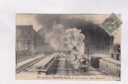 CPA DPT 33 EN QUITTANT BORDEAUX, JE VOUS ENVOIE MON SOUVENIR En 1924! - Gares - Avec Trains