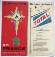 CARTE 1958 CAMPING EN FRANCE 300 CAMPINGS CAMPS FEDERATION FRANCAISE ET DE CARAVANING  PUB MAGGI NESCAFE LAIT SUCRE - Cartes