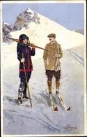 Artiste Cp Pellegrini, Paar Mit Skiern, Dame In Winterkleidung - Cartes Postales