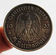 GERMANY. THIRD REICH. 5 REICHSMARK 1935 A. SILVER. ARGENT. ALLEMAGNE. - [ 4] 1933-1945 : Third Reich