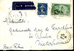 LETTRE EN PROVENANCE DE PARIS POUR L'ALSACE - 1935 - N° 303 BARON DELESSERT - France