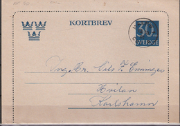 Sweden 1961 Kortbrev, Card Letter  With Imprinted Stamp, Cancelled   Malmø 12.10.61 - Brieven En Documenten