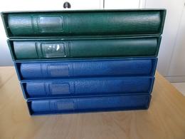 5 Lindner Binder 3 Blau, 2 Grün Mit Schuber Leer (10368) - Alben & Binder
