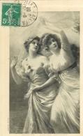 """Cpa Tableau De 2 Femmes """" Alerte """" Amors Angriff 1901 , Voyagée - Musées"""