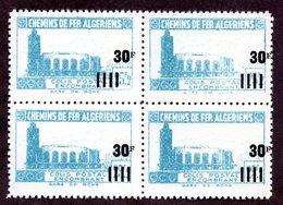 Algérie Colis Postaux  N°180c Bloc De 4 Avec 1 Surchargé Décalée N** LUXE  Cote Min 80 Euros !!!RARE - Algérie (1924-1962)