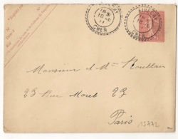 Facteur Boitier ETRECHY Cher Sur ENTIER SEMEUSE Pour PARIS. - Postal Stamped Stationery