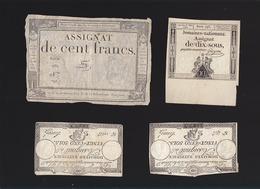 Assignats - Lot De 7 - 50 Sols / Dix Sous / 25 Sols / Cent Francs - Assignats & Mandats Territoriaux