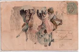 CPA, Splendide Carte De Deux Couples Habillés Carnaval De Venise, Signée De L'illustrateur - Autres