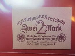 Darlehnskassenschein :2 MARK 1922 NEUF - [ 3] 1918-1933 : République De Weimar