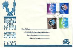 TANGANIKA E ZANZIBAR 1964 - UNIONE TANGANIKA E ZANZIBAR - SERIE COMPLETA SU FDC - Tanzania (1964-...)