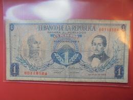 COLOMBIE 1 PESO 1966 CIRCULER - Colombie