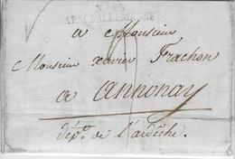 N°28 ARM D'ALLEMAGNE  AVEC TAXE DU 7EME REGIMENT DE CHASSEURS A CHEVAL A AUROLZ-MUNSTER POUR ANNONAY 1810 - Marcophilie (Lettres)