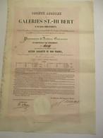 Galeries St Hubert - Promesse D'Action Garantie - Document De 1845 - Autres