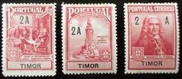 1925 TIMOR Yt 206, 207, 208.  Postal Tax . Marquis De Pombal. Neufs Petites Traces Charnières - Timor